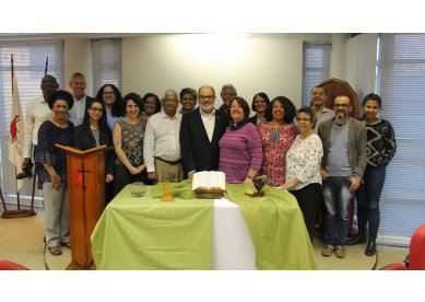 Sede Nacional recebe liderança da Igreja Metodista britânica e membros da Christian Aid