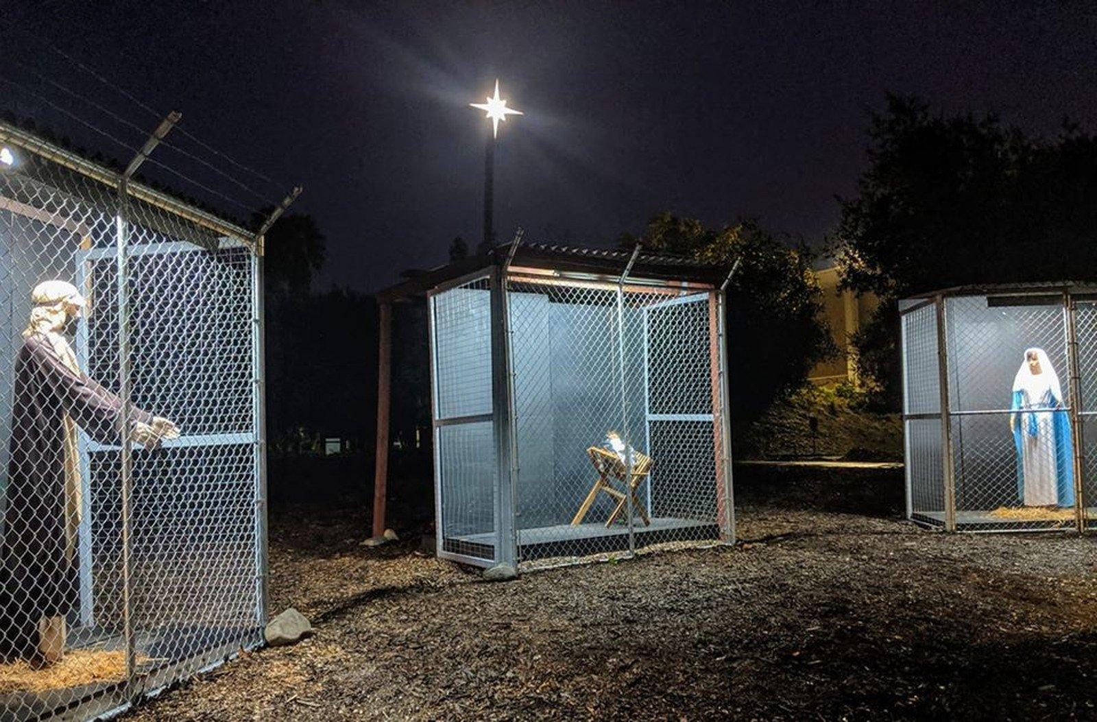 Presépio nos EUA mostra Jesus, Maria e José como imigrantes presos em gaiolas