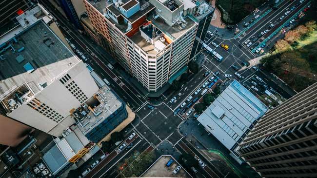 Imagem de uma cidade vista do alto